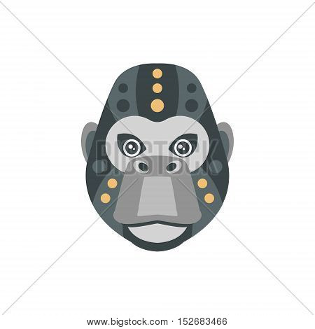 Gorilla African Animals Stylized Geometric Head. Flat Colorful Vector Creative Design Icon Isolated On White Background
