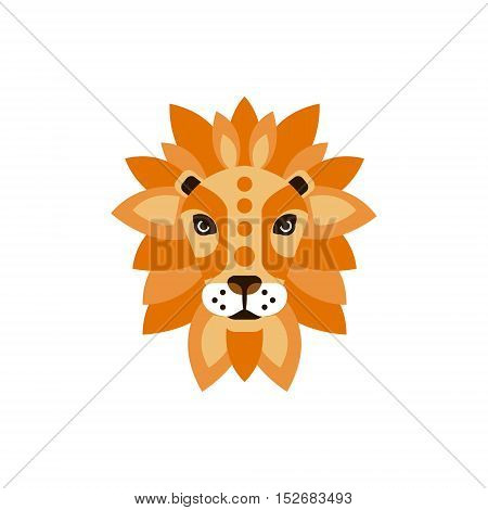 Lion African Animals Stylized Geometric Head. Flat Colorful Vector Creative Design Icon Isolated On White Background