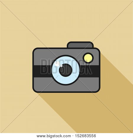Flat Camera Logo or Icon with Long Shadow