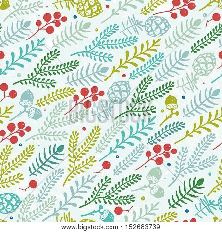 Seamless diagonal pattern with berries, pine cones, acorns and branches. Christmas vector illustration in vintage style.