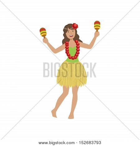 Girl Playing Maracas Hawaiian Vacation Classic Symbol. Isolated Flat Vector Icon With Traditional Hawaiian Representation On White Bacground.