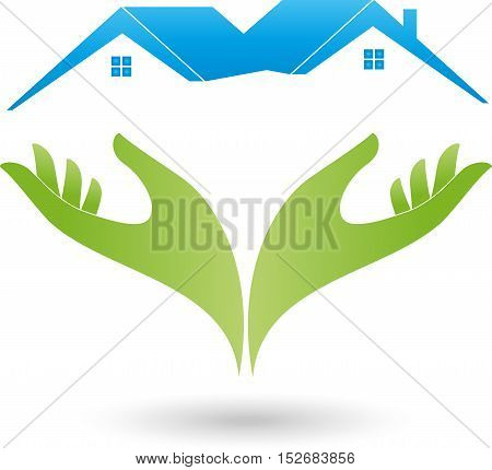 Hands and two houses, roofs, real estate and real estate broker logo