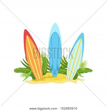 Surf Boards Hawaiian Vacation Classic Symbol. Isolated Flat Vector Icon With Traditional Hawaiian Representation On White Bacground.