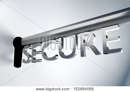 metal key server lock keyhole secure 3D Illustration