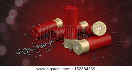3d composition of  shooting ammunition sporting cartridges with lead shot