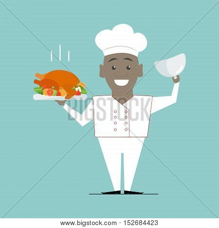 Cook African American with a dish in her hands. Chef. Vector flat