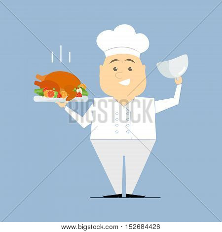 Chef with a dish in her hands. Roasted turkey. Vector flat