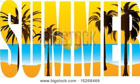 abstract summer title with a beach scene in the background