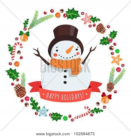 Happy holidays cartoon snowman in a hat with Christmas wreath vector greeting card.
