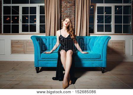 Seductive Sexy Model Posing In Loft Interior
