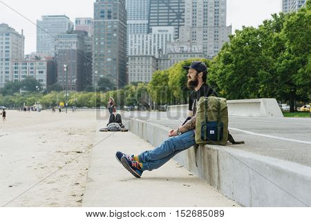 Chicago USA - September 25 2015: Tourist and bicycle on a lane.