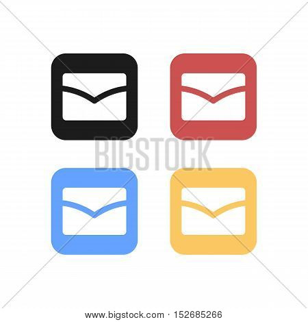Colorful Set of Rounded Square Mail Logo or Icon
