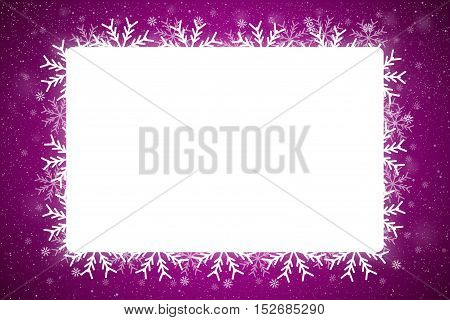 Vector Rectangle White Frame Snowflake. Falling Snow. PurpleWinter Frame Background. Winter Snowfall. Holidays New Year and Merry Christmas.