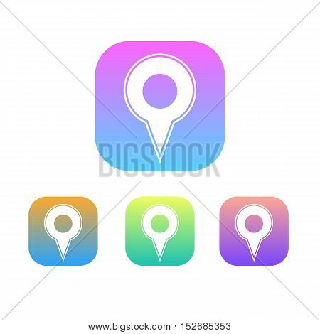 Colorful Set of Map Marker Logo or Icon. Gradation.