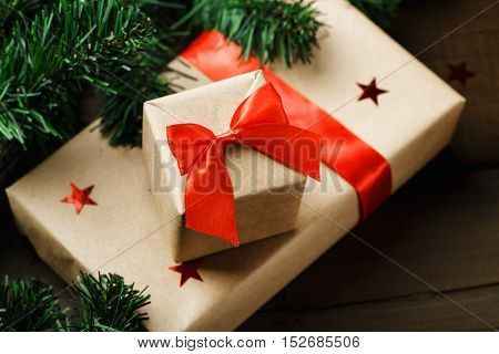 Christmas Gifts Wrapped In Craft Pape