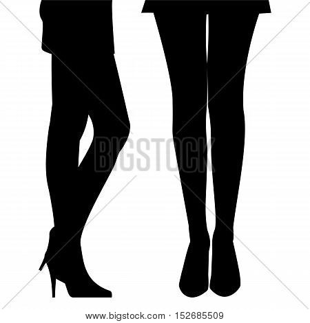Hand Drawn Female Legs in Shoes on High Heels. Black Silhouette of Graceful Woman's Legs in a Short Skirt isolated on White. Vector Illustration.