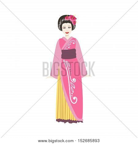 Japanese Geisha In Pink Kimono. Simple Realistic Character On White Background With Traditional Culture Symbols