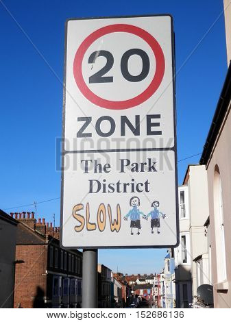 Twenty Mile speed restriction in The Park District of Weymouth England