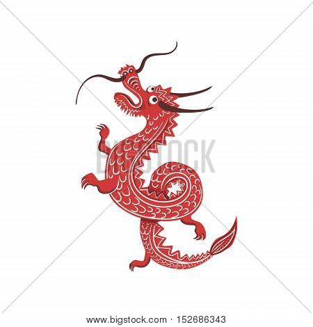 Red Dragon Japanese Culture Symbol. Isolated Object Representing Japan On White Background