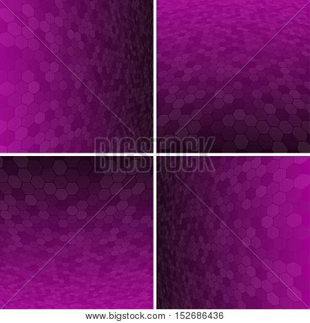 Set Abstract Honeycomb Halftone Effect Vector Background. Perspective Halftone Vector Background. Vector Background with Copy-Space. Purple Perspective Background. Vector illustration for Web Design.