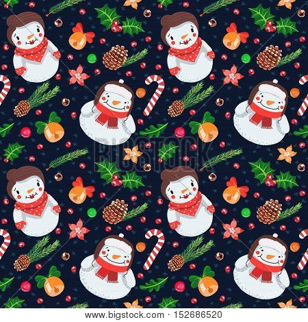 Christmas cartoon seamless vector pattern with snowman and snow woman (dark blue).