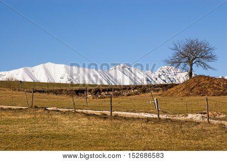 Monte Baldo (Baldo Mountain Italian Alps) 2218 m. in winter near Verona seen from the Plateau of Lessinia. Veneto Italy