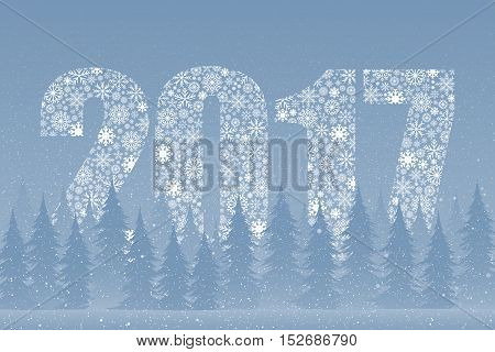 Falling snow vector. White splash on blue background. Winter snowfall hand drawn spray texture. Winter forest. Christmas tree. Snow. A series of mountains in the snow. The mountains. 2017.
