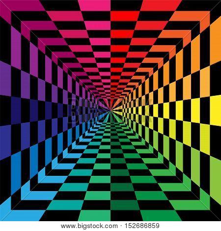 Vector Illustration. Black and Rainbow Colored Rectangles Expanding from the Center. Optical Illusion of Perspective. Suitable for Web Design.