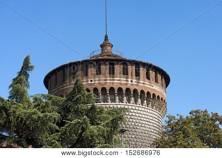 Detail of the Torrione di Santo Spirito (Tower of Holy Spirit) Sforza Castle XV century (Castello Sforzesco). Milan Lombardy Italy