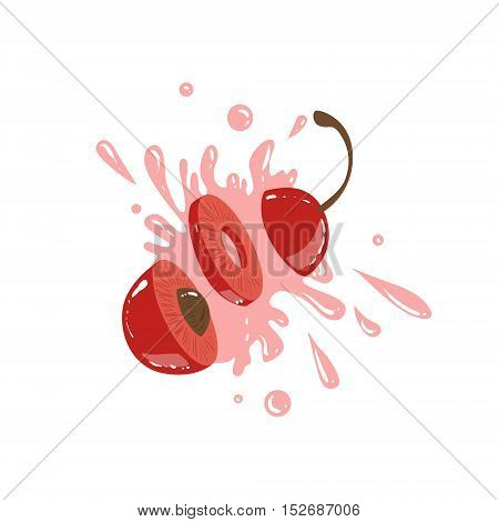 Cherry Cut In The Air Splashing The Juice. Bright Color Cartoon Simple Style Flat Vector Sticker Isolated On White Background