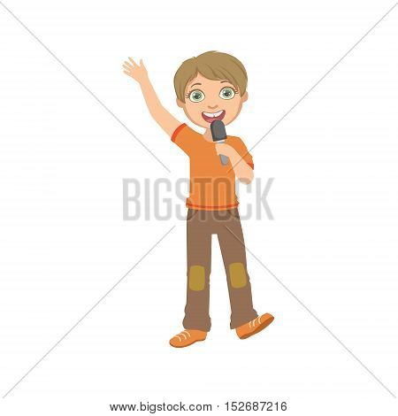 Boy In Orange T-shirt Singing In Karaoke. Bright Color Cartoon Simple Style Flat Vector Sticker Isolated On White Background