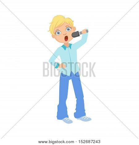 Boy In Blue Outfit Singing In Karaoke. Bright Color Cartoon Simple Style Flat Vector Sticker Isolated On White Background