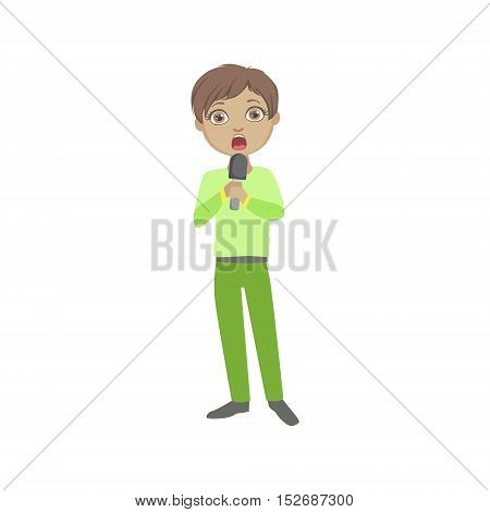 Boy In Green Outfit Singing In Karaoke. Bright Color Cartoon Simple Style Flat Vector Sticker Isolated On White Background
