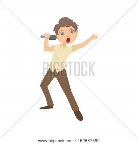 Boy In Classy Outfit Singing In Karaoke. Bright Color Cartoon Simple Style Flat Vector Sticker Isolated On White Background