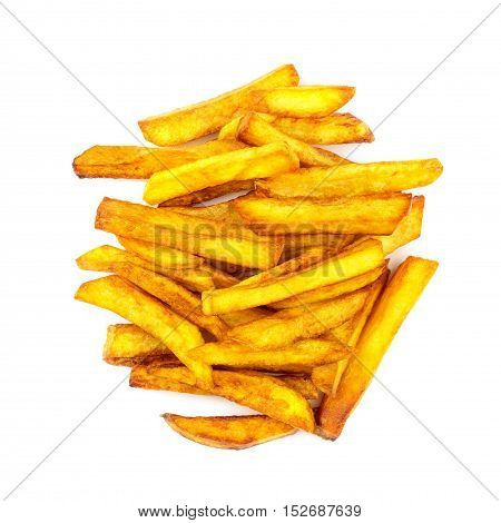 Homemade fast food portion of french fries isolated on white background top view