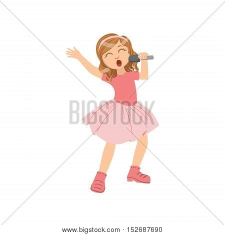 Girl In Pink Outfit Singing In Karaoke. Bright Color Cartoon Simple Style Flat Vector Sticker Isolated On White Background