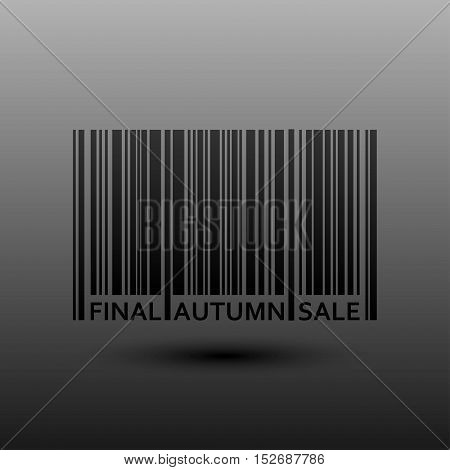 Vector abstract barcode. Autumn Fall final sale. Eps 10. Black bars of varying sizes.