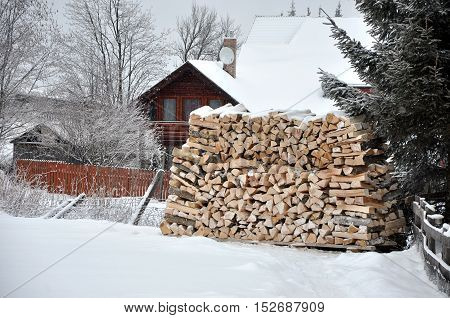 Stack Of Chopped Fire Woods