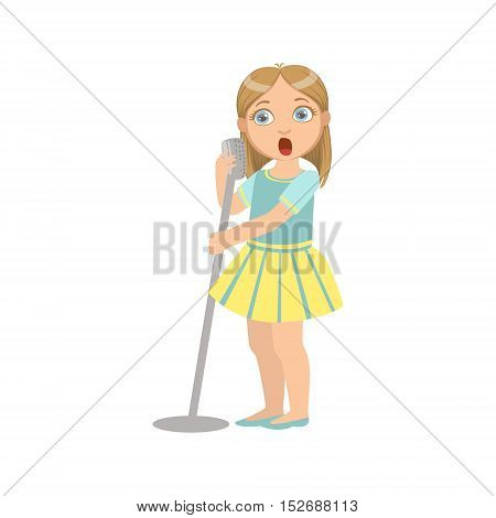 Girl In Yellow Skirt Singing In Karaoke. Bright Color Cartoon Simple Style Flat Vector Sticker Isolated On White Background