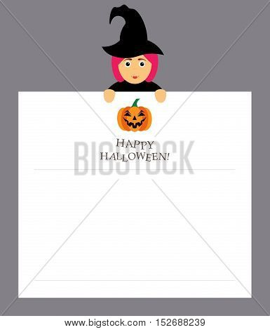 Witch is holding a notepad sheet For the entries.Pumpkin and inscription happy Halloween. Modern flat design.