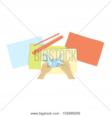 Child Doing Origami Illustration With Only Hands Visible From Above. Kids Art And Craft Lesson Colorful Cartoon Cute Vector Picture.