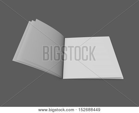 Open Brochure Catalog With Few Blank Pages 3D Rendering On Gray Background.