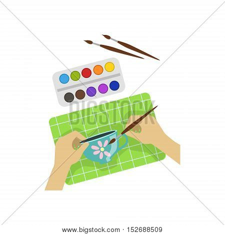 Child Painting Cup Illustration With Only Hands Visible From Above. Kids Art And Craft Lesson Colorful Cartoon Cute Vector Picture.