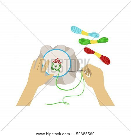 Child Doing Embroidery Illustration With Only Hands Visible From Above. Kids Art And Craft Lesson Colorful Cartoon Cute Vector Picture.