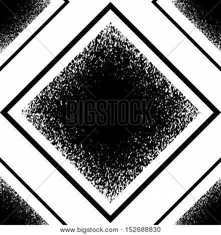 Pattern with black grunge rhombuses. Geometric vector seamless pattern.