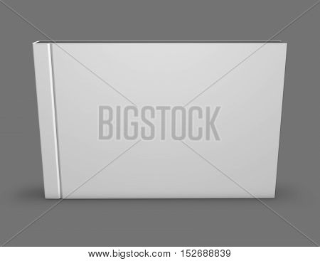 Closed photo book album hard empty cover standing on gray background 3D illustration.