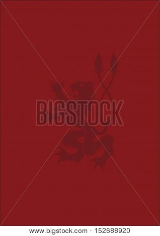 Heraldic background with lion. The red background. Heraldic background. The background for the text. Elegant background. Lion.
