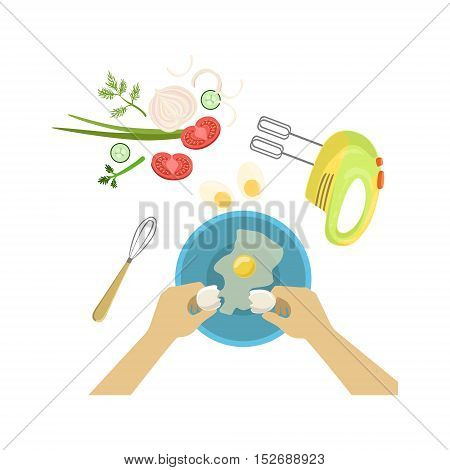 Child In Cooking Class Illustration With Only Hands Visible From Above. Kids Art And Craft Lesson Colorful Cartoon Cute Vector Picture.
