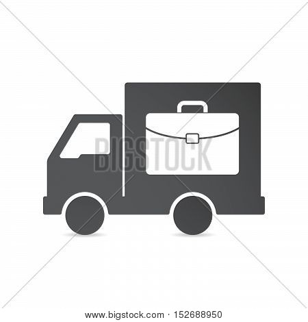 Isolated Delivery Truck With  A Briefcase