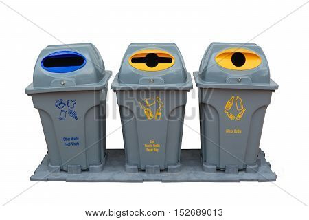 Recycle bin colorful for trash your garbage and seperate type object for reuse protect our environment isolate on white background.